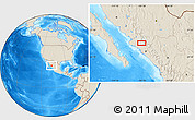 """Shaded Relief Location Map of the area around 25°51'37""""N,107°52'30""""W"""