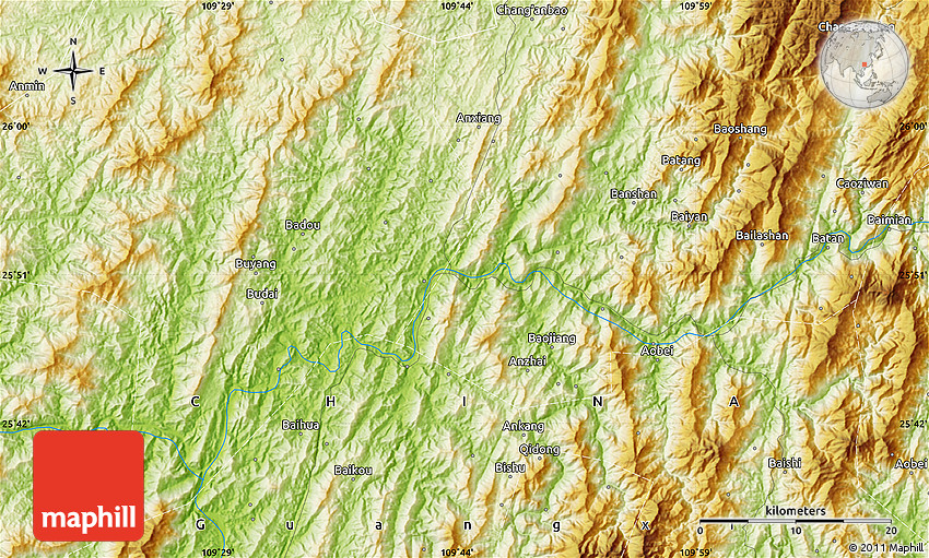 Physical Map Of Ankang - Ankang map