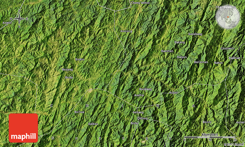 Satellite Map Of Ankang - Ankang map