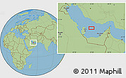"Savanna Style Location Map of the area around 25°51'37""N,52°46'29""E"