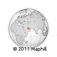 """Outline Map of the Area around 25° 51' 37"""" N, 52° 46' 29"""" E, rectangular outline"""