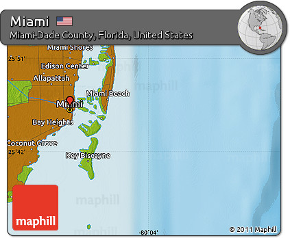 Map Of Miami Florida.Free Physical Map Of Miami