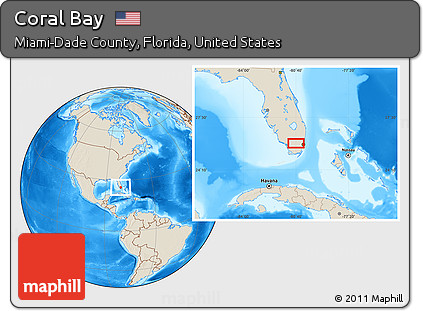 Coral Bay Florida Map.Free Shaded Relief Location Map Of Coral Bay