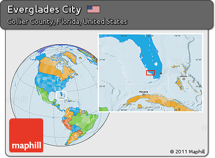 Free Political Location Map of Everglades City