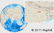 """Shaded Relief Location Map of the area around 25°51'37""""N,85°4'29""""E"""