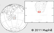 """Blank Location Map of the area around 25°2'21""""S,45°7'30""""E"""