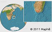 "Satellite Location Map of the area around 25°2'21""S,45°7'30""E"