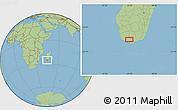 "Savanna Style Location Map of the area around 25°2'21""S,45°7'30""E"