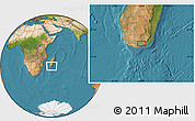 "Satellite Location Map of the area around 25°2'21""S,45°58'30""E"