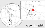 """Blank Location Map of the area around 25°2'21""""S,56°1'29""""W"""