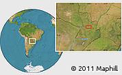 "Satellite Location Map of the area around 25°2'21""S,56°1'29""W"