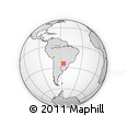 """Outline Map of the Area around 25° 2' 21"""" S, 56° 1' 29"""" W, rectangular outline"""