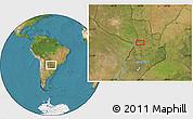 Satellite Location Map of Colonia Veintiuno de Julio