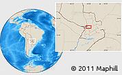Shaded Relief Location Map of Colonia Veintiuno de Julio