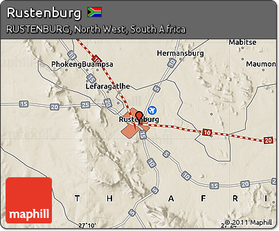 Free Shaded Relief Map of Rustenburg