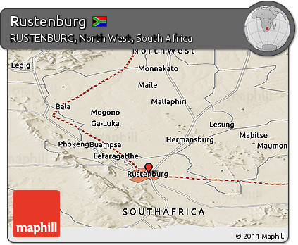 Free Shaded Relief Panoramic Map of Rustenburg