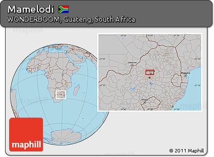 Free Gray Location Map of Mamelodi