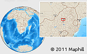 """Shaded Relief Location Map of the area around 25°31'56""""S,28°7'30""""E"""