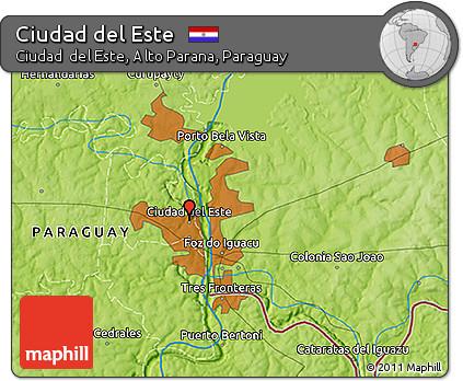 Free Physical 3D Map of Ciudad Del Este