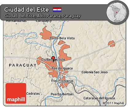 Free Shaded Relief 3D Map of Ciudad Del Este