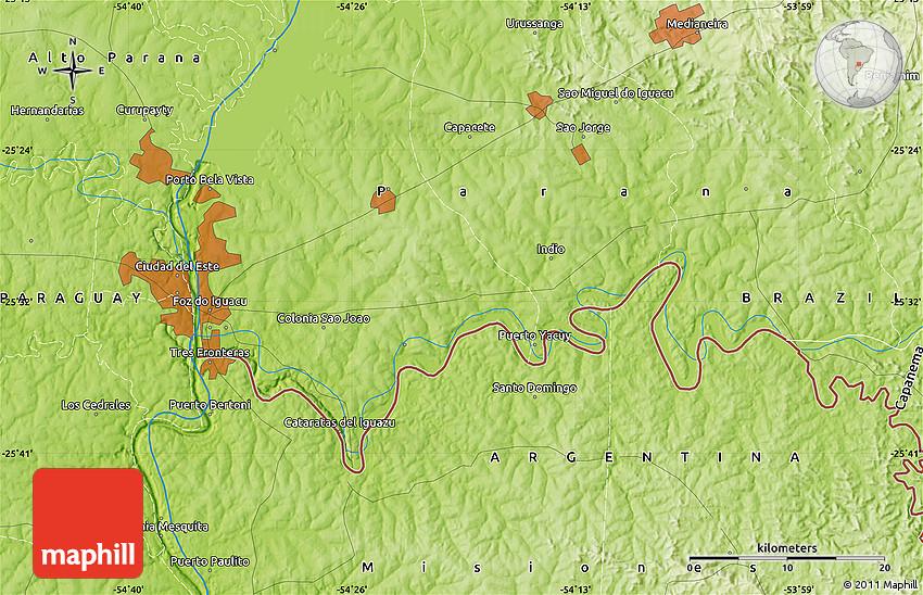 Physical Map of Ciudad Del Este