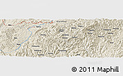 """Shaded Relief Panoramic Map of the area around 26°21'4""""N,108°1'30""""E"""
