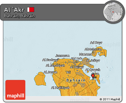 Political 3D Map of Al `Akr