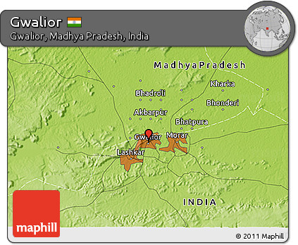 Gwalior India Map Physical 3d Map of Gwalior