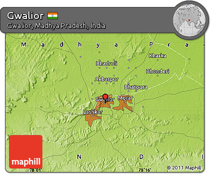 Gwalior India Map Physical Map of Gwalior