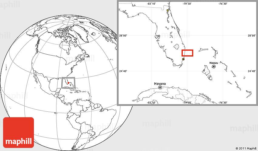 Blank Location Map of Caribbean Key