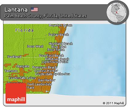 Physical Map Of Florida.Free Physical Panoramic Map Of Lantana