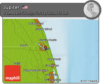 Map Of Florida Showing Jupiter.Free Physical 3d Map Of Jupiter