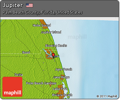 Map Jupiter Florida.Free Physical 3d Map Of Jupiter