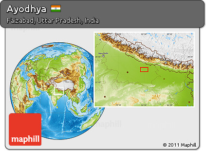 Ayodhya In India Map.Free Physical Location Map Of Ayodhya