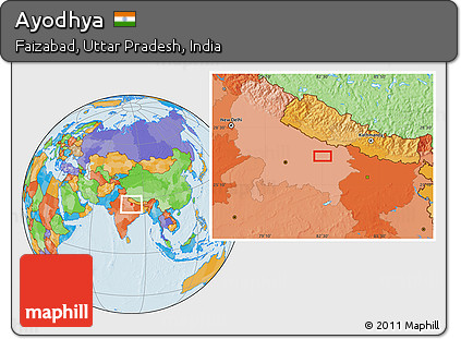 Ayodhya In India Map.Free Political Location Map Of Ayodhya