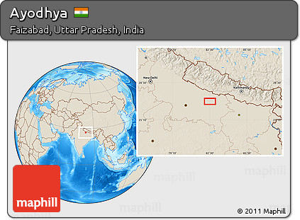 Ayodhya In India Map.Free Shaded Relief Location Map Of Ayodhya