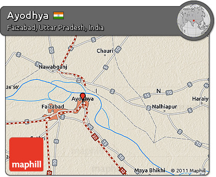 Ayodhya In India Map.Free Shaded Relief Map Of Ayodhya