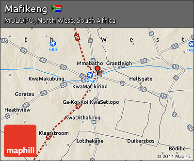 Free Shaded Relief Map of Mafikeng