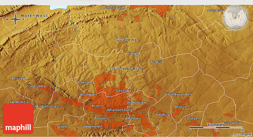 Physical 3D Map of Roodepoort