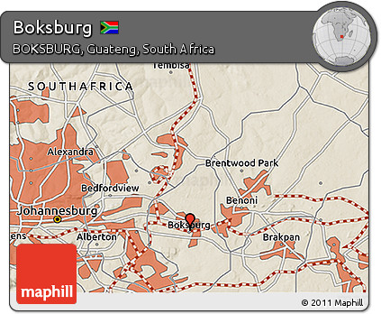 Free Shaded Relief 3D Map of Boksburg