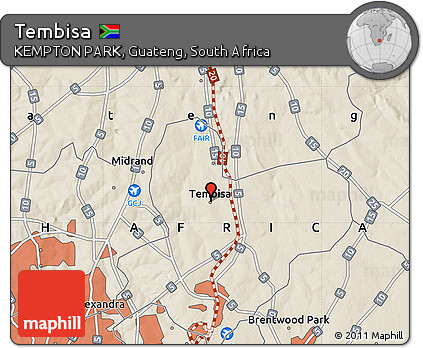 Free Shaded Relief Map of Tembisa