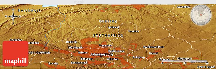Physical Panoramic Map of Tembisa