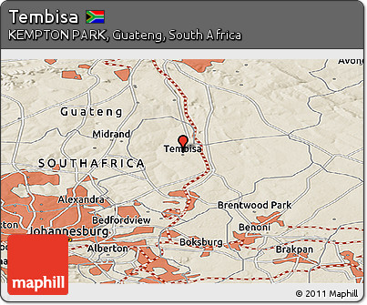 Free Shaded Relief Panoramic Map of Tembisa