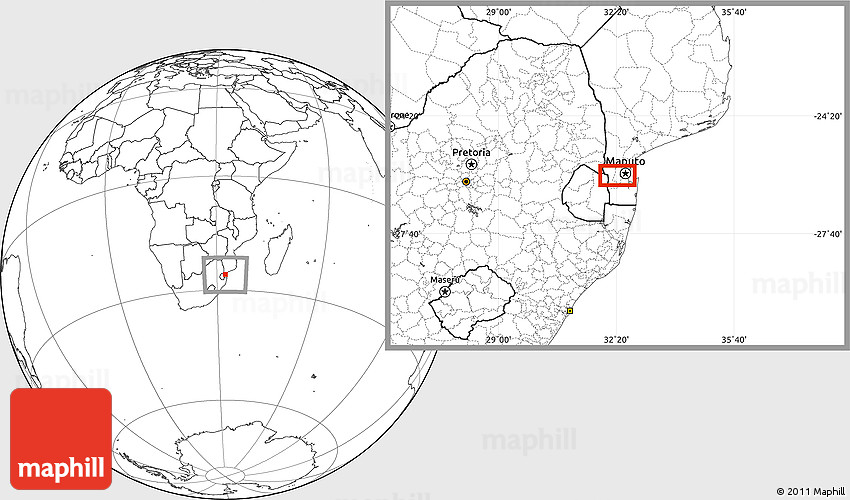 Blank Location Map of Matola