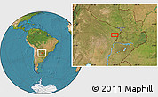 Satellite Location Map of San Hilario
