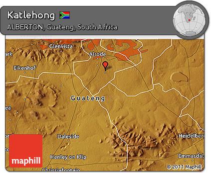 Free Physical 3D Map of Katlehong
