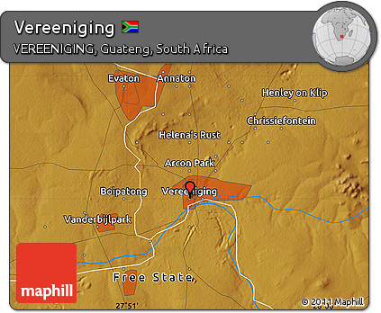 Free Physical Map of Vereeniging