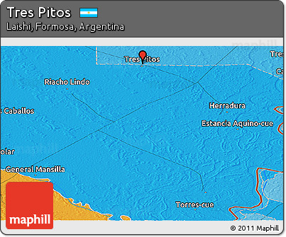 Political Panoramic Map of Tres Pitos