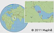 "Savanna Style Location Map of the area around 27°19'44""N,50°13'30""E"