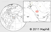 """Blank Location Map of the area around 27°19'44""""N,51°4'30""""E"""